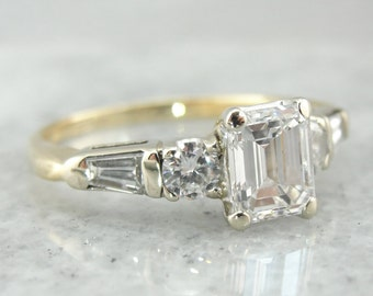 Emerald Cut Diamond, Classic Engagement Ring with Tapered Baguettes, 14K Yellow and White Setting, VUFF11-N