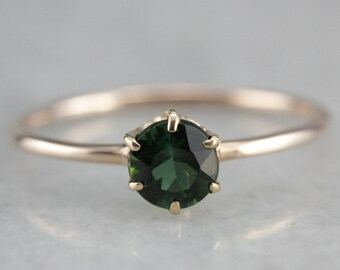 Green Tourmaline Solitaire Ring, Tourmaline Rose Gold Ring, Simple Solitaire CKLTCUC7