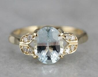 Lovely Aquamarine Ring, Aquamarine and Diamond, Right Hand Ring, Anniversary Ring WVW5E7-R