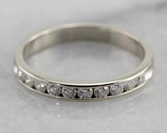 Channel Set Diamond Wedding Band in White Gold FHDTQU-N
