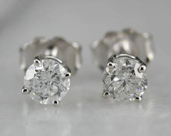 Round Diamond Stud Earrings in Polished White Gold PQVN02QZ-R