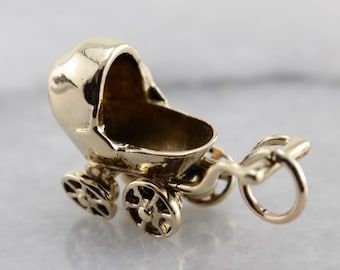 Baby Shower Keepsake, Gold Baby Carriage Charm 0DMQY9-R