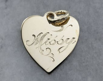 Little Missy Engraved Gold Heart Pendant, Melissa Personalized Pendant, Gold Heart Pendant XU3EYK-P