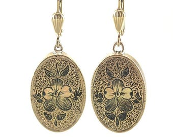Gothic Flowers, Victorian Black Enamel Drop Earrings, Antique Gold Earrings TET8A1-P