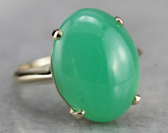 Chrysoprase Ring, Cabochon Ring, Oval Stone Ring, Chrysoprase and Yellow Gold, Statement Ring A7A6JK87-C