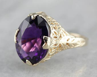 Art Deco Amethyst Ring, Amethyst and Yellow Gold, Filigree Ring, Right Hand Ring T7C3NKZE-N