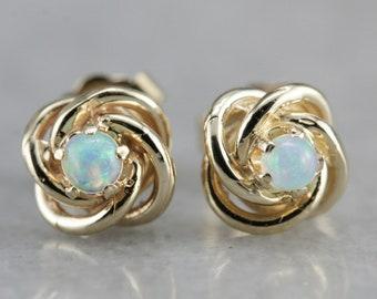 Opal Stud Earrings, Lovers Knot Earrings, Knot Earrings, Yellow Gold Earrings U14FNC7P