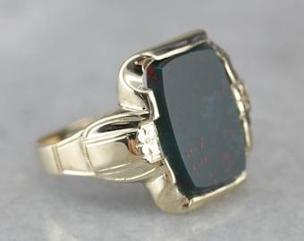 Men's Bloodstone Ring, Vintage Bloodstone Ring, Men's Statement Ring WU4KFYRW-R