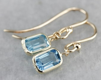 Blue Topaz Drop Earrings, Topaz and Yellow Gold, Simple Drop Earrings, Bridal Jewelry PAZUDH09
