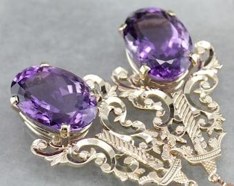 Amethyst Statement Earrings, Amethyst Drop Earrings, Ornate Earrings, Anniversary Gift QEQCPREE-C