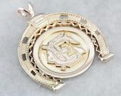 Gold Monogrammed Pendant, Horseshoe Pendant, Statement Pendant, Unisex Pendant LJ8P339R