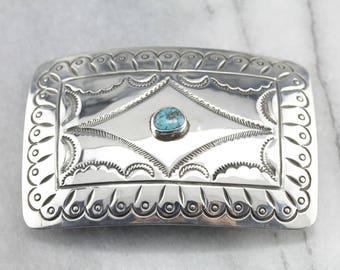 f8ae8f06400 Boucle de ceinture Turquoise Navajo en argent Sterling