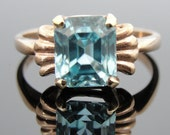 Vintage Blue Zircon Ring, Sweet Heart Retro Setting RGZC501D