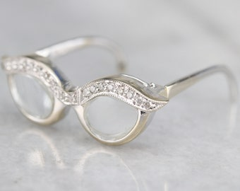 4926bed32ee Cat s Eye Diamond Eyeglasses Pendant