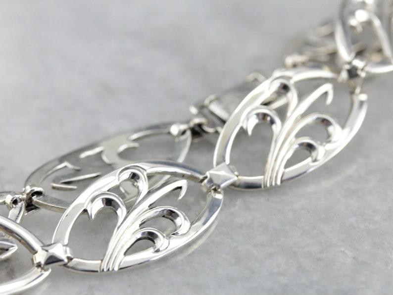Decorative Link Sterling Silver Bracelet RL1405E8-C