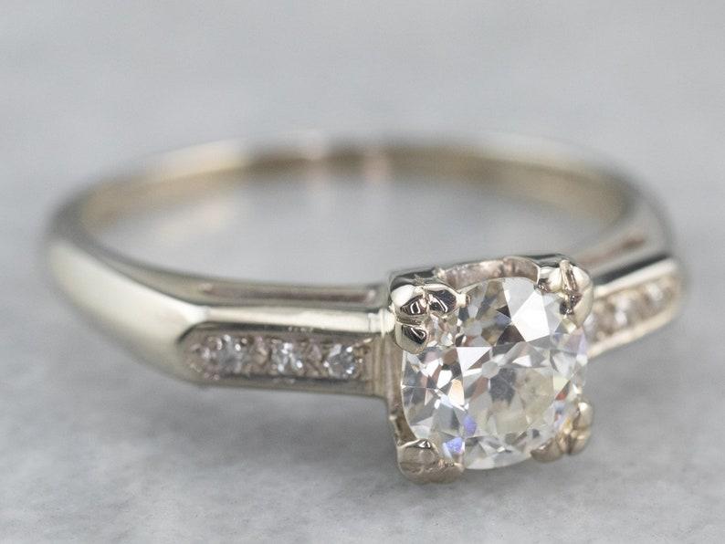 Retro Era European Cut Diamond Ring Vintage Diamond image 1