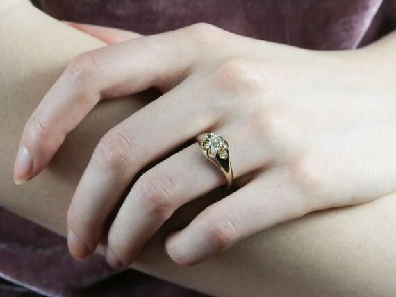 Unisex Diamond Belcher Ring, Antique Diamond Soli… - image 10