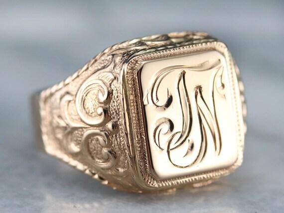 """Antique Rose Gold """"JN"""" Monogrammed Signet Ring, Me"""