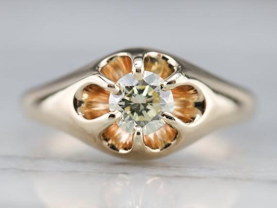 Unisex Diamond Belcher Ring, Antique Diamond Soli… - image 1