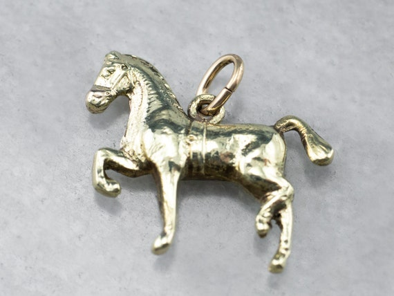 Vintage Trotting Horse Charm, Yellow Gold Charm, H