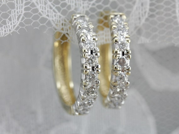Diamond Hoop Earrings, Yellow and White Gold Hoop… - image 6