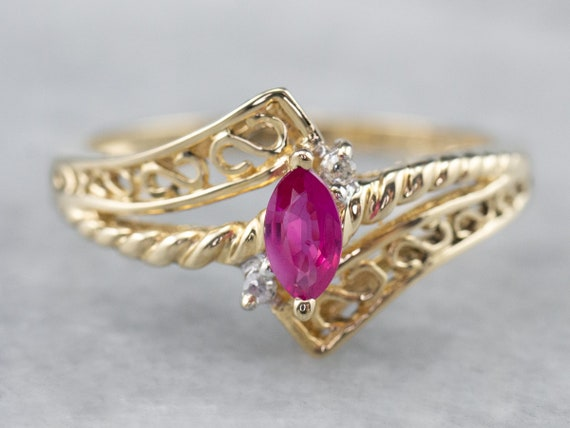 Marquise Ruby and Diamond Ring, Yellow Gold Ruby R