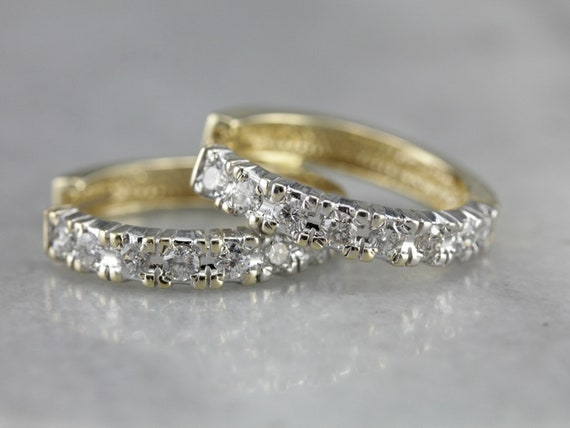 Diamond Hoop Earrings, Yellow and White Gold Hoop