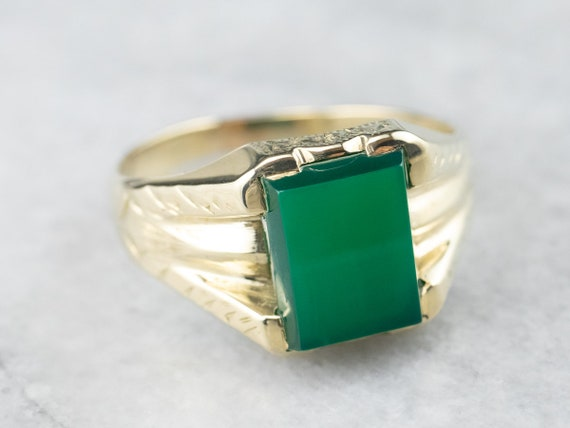 Green Gold Green Onyx Ring, Green Onyx Solitaire R