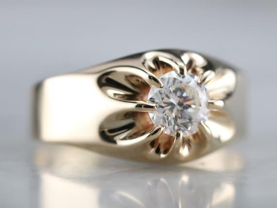 Belcher Set Diamond Ring, Unisex Diamond Solitair… - image 2