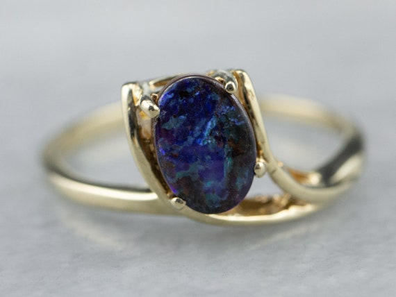 Australian Boulder Opal Ring, Black Opal Ring, Opa
