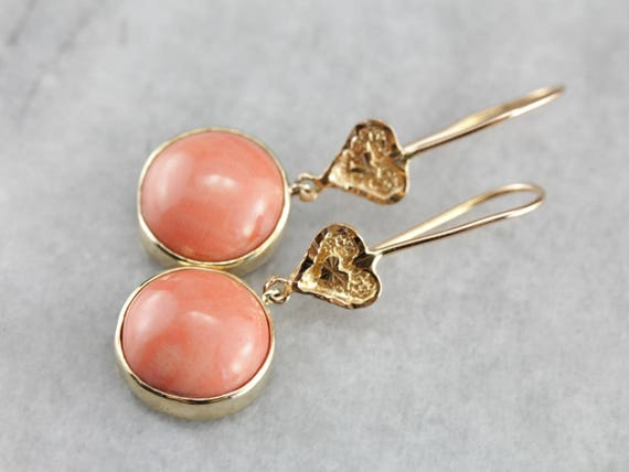Vintage Coral Drop Earrings, Cabochon Earrings, Lo