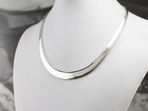 Sleek Sterling Silver Tapered Collar Necklace, Sil
