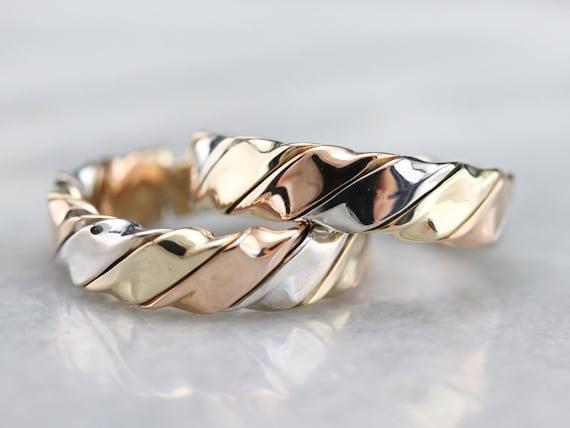 Tricolor Gold Twist Hoop Earrings, Mixed Metal Ho… - image 2
