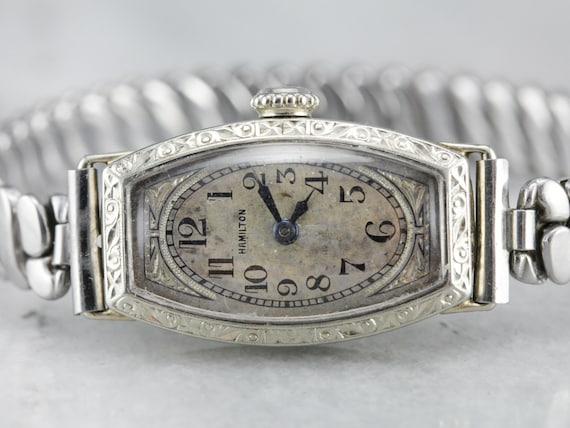 1930's Hamilton Wrist Watch, White Gold Watch, Lad