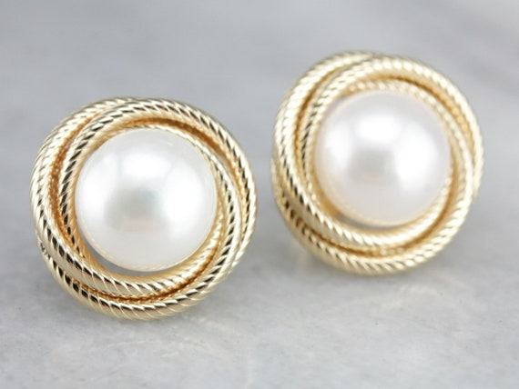 Freshwater Pearl Earrings, Coin Pearl Earrings, Ye