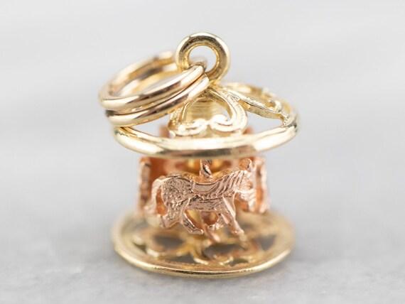 Two Tone Gold Carousel Charm, Vintage Carousel Cha