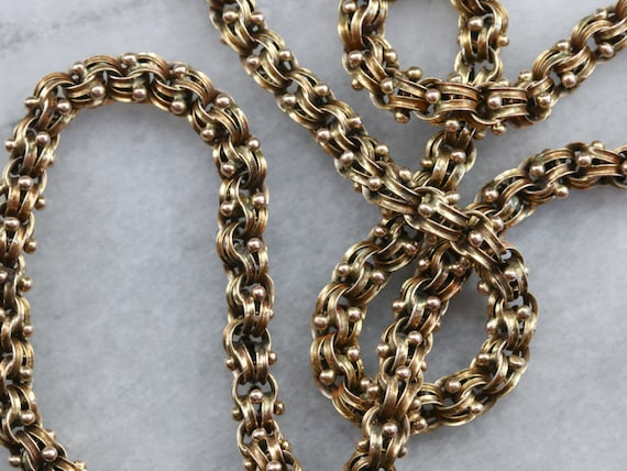 Victorian Gold Link Chain Necklace, Ornate Victori