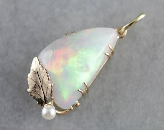 Dreamy Opal Pendant, Opal and Pearl Leaf Pendant, Statement Necklace 7FUQMN-D