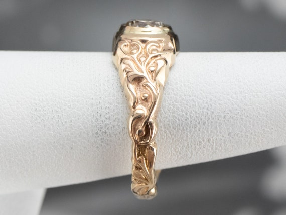 Botanical Champagne Diamond Ring, Champagne Diamo… - image 10