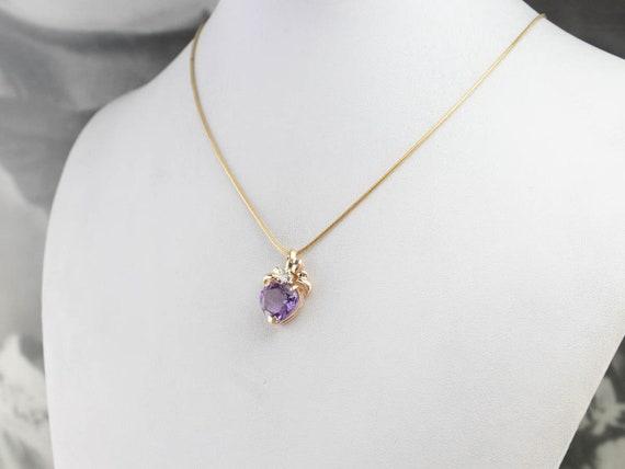 Amethyst Heart and Diamond Pendant, Amethyst Ribb… - image 8