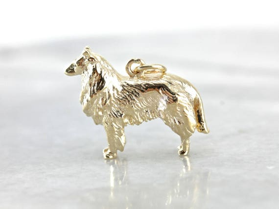 Collie Dog Gold Charm Pendant, Vintage Gold Dog Pe