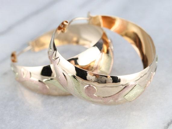 Vintage Large Gold Hoop Earrings, Patterned State… - image 1