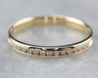 Channel Set Diamond Wedding Band, Yellow Gold Diamond Band, 14K Gold Wedding Band, Diamond Stacking Band, Anniversary Band 192R33JH