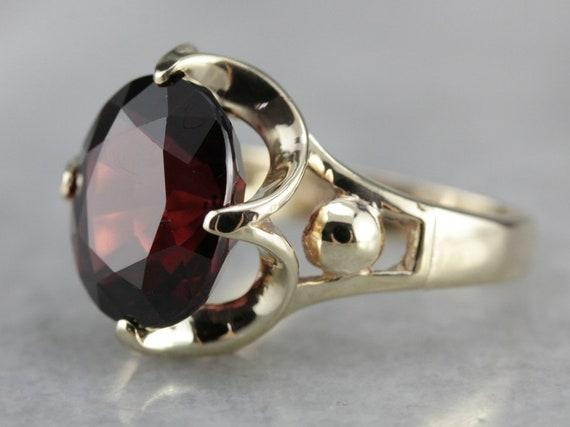 Garnet Cocktail Ring, Red Garnet, Floral Garnet Ri