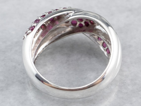 Sterling Silver Ruby Twist Band, Ruby Statement R… - image 5