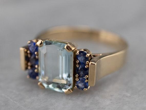 Aquamarine and Sapphire Ring, Yellow Gold Aquamari