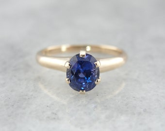Amazing Victorian Rose Gold and Vivid Blue Sapphire Ring - T81YWC-D