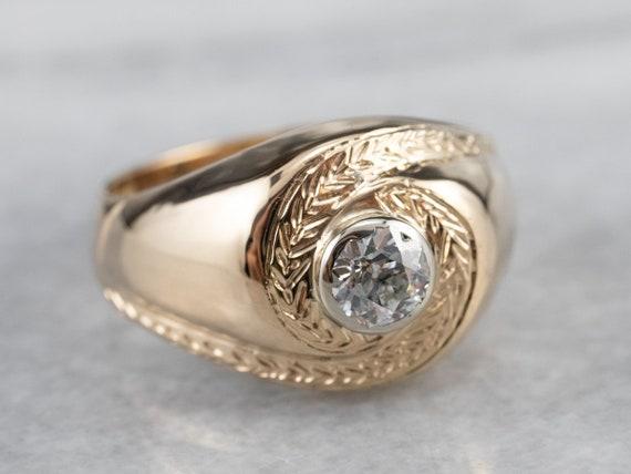 Unisex Old Mine Cut Diamond Ring, Vintage Diamond… - image 2