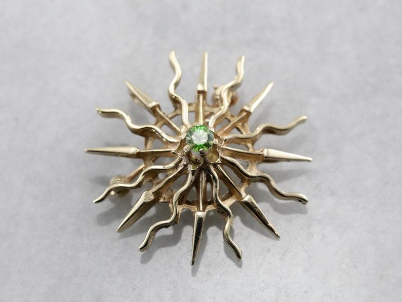 Demantoid Garnet Sunburst Radiant Sun Pin or Pendant in image 0