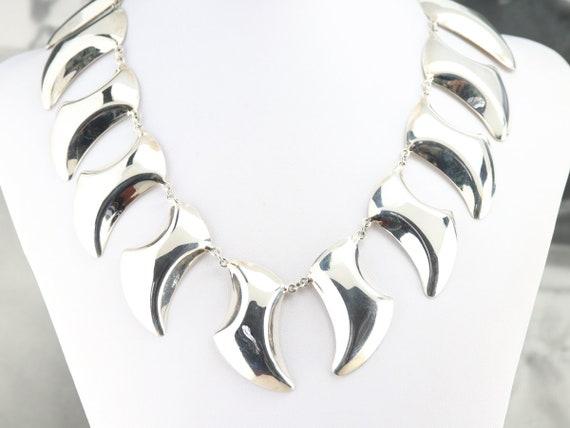 Modern Sterling Silver Necklace, Silver Statement